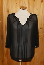 NEXT black chiffon studs 3/4 sleeve tunic blouse top VICTORIANA STEAMPUNK 12 40