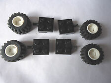 LEGO PART 4488 BLACK 2 x 2 MODIFIED PLATE WHEEL HOLDER + WHEELS WHITE HUBS