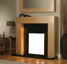 GAS ELECTRIC OAK BLACK GRANITE MARBLE WALL SURROUND MODERN FIRE FIREPLACE SUITE