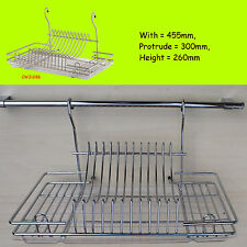 Dish Drainer Rack Chrome For Hanging Rail Cutlery Plates Cup Glass Dryer CWJ128B