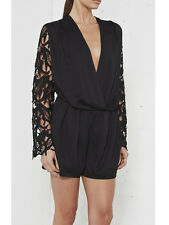 Nana Judy Australian Black Lace Gypset Long Sleeve Playsuit 8 NEW