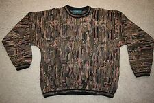 Vtg TUNDRA Colorful Textured COSBY Biggie HIp Hop pullover sweater XL - VGC