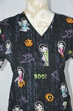 Betty Boop Womens XS Black Halloween Ghost Boo Tie Back 2 Pocket Scrub Top
