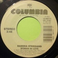 "BARBRA STREISAND - WOMAN IN LOVE / RUN WILD 7"" VINYL COLUMBIA HALL OF FAME NM"