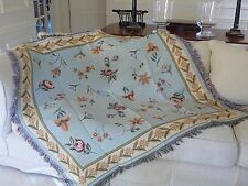 DESIRE WAUMAN Floral/Aqua-Green 100% Cotton Tapestry Throw Table Bed  150x150cm
