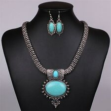 Vintage Style Chunky Women's Blue Oval Turquoise Pendant Necklace Earrings Set