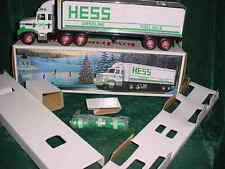 87  RARE CHINA XMAS HOLIDAY HESS GASOLINE TRUCKS 3 BARREL 18 WHEELER TOYS  1987