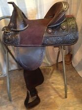"14.5 - 15"" Western draft/wide horse treeless saddle dark oil leather"