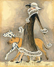 GREAT DANE Gt DANOIS DEUTSCHE DOGGE BOARHOUND HARLEQUIN FAWN DOG ART DECO PRINT
