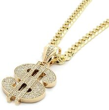 "Mens Gold Iced Out Money Sign Mula Pendant Hip-Hop 30"" Inch Cuban Necklace Chain"