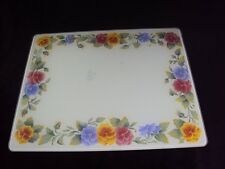 Corelle Summer Blush Pansies Tempered Glass Cutting Board 15 X 12 J2