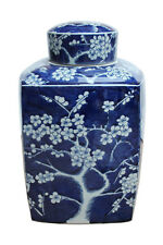 Beautiful Blue and White Cherry Blossom Porcelain Square Tea Jar Caddie 14""