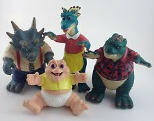 4PC 1991 Disney Dinosaurs TV Show Figures accessories Baby Dad Mom Uncle EUC