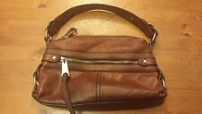 Fifty-Four Fossil, Solid Brown, Leather, Baguette Handbag