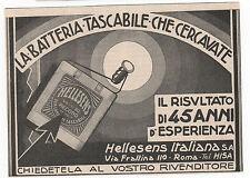 Pubblicità epoca 1931 BATTERIA TASCABILE HELLESENS advertising werbung publicitè