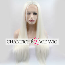 Long White Platinum White Blonde Synthetic Wig Lace Front Wigs UK Heat Resistant