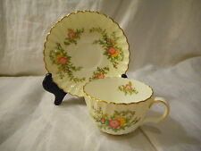 Tea or Coffee Cup & Saucer, Minton China,York Pattern S-501, Swirled Gold Trim