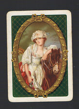 "Playing Swap Cards 1 WIDE VINT  ENG  ""THE MILK MAID "" LADY  &  HORSE  9EW"