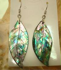 15-17mm Carved NZ Paua Abalone Shell Hawaiian Maile Dangling Hook 316L Earrings