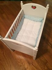 American Girl Doll Bitty Baby Crib Bed Retired 1999 1st Ed? Red Bead Blue Heart