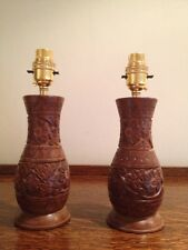 """PAIR Unique Hand Carved Solid Wood Table Lamps Lovely Floral Detail H9"""""""