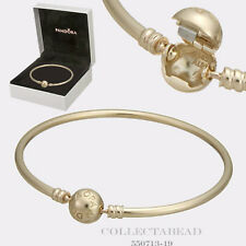 "Authentic Pandora 14K Gold Bangle with Signature Clasp 6.7""  17CM  550713"