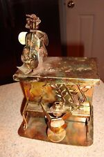 Vintage Copper Brass Musical Box Piano & Guitar Player