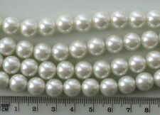 50 x 10mm round white glass pearls, for jewellery making and crafts