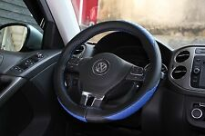 Black + Blue PVC Leather DIY Steering Wheel Cover Wrap w/ Needle & Thread 47012