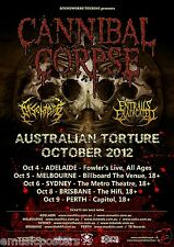 "CANNIBAL CORPSE / DISENTOMB ""AUSTRALIAN TORTURE 2012"" CONCERT TOUR POSTER- Metal"