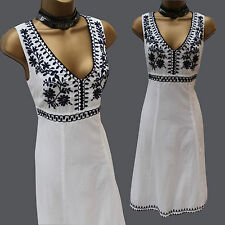 Monsoon White Navy Floral Embroidered Cotton Beach Summer Holiday Dress 8 UK