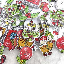 50 pcs Assorted Christmas Wooden Button Lot Craft Card Embellish WB368