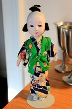 "Vintage Japanese Ichimatsu Gofun Boy Doll with Top Knot 9"" tall marked Japan"