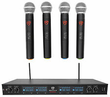 Rockville RWM90U Quad UHF Handheld Wireless Microphone System w/LCD+Metal Casing