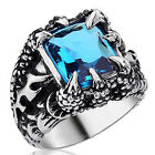 Dragon Claw Sapphire Blue Ziron Stone Mens Boys 316L Stainless Steel Biker Ring
