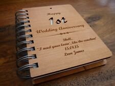 Personalised 1st Wedding Anniversary Notebook Gift: Paper 1st Anniversary Gift