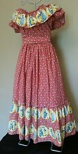 GIPSY BOHO VOLANT LONG OFF THE SHOULDERS SUMMER DRESS FLOWERS & MUSIC PATTERN