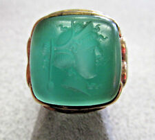 Antique Men's Green Chalcedony Intaglio Ring 10k Gold size 8  Circa 1940s