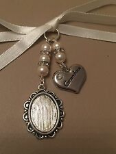 Bridal Bouquet Oval Photo Memory Charm Wedding Swarovski Beads Grandma