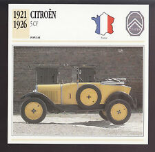 1921-1926 Citroen 5 CV France Car Spec Photo Info ATLAS CARD 1922 1923 1924 1925