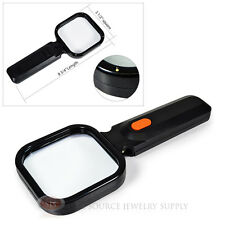 4X Magnifier Illuminated Magnifying Glass LED Lighted Swivel Head Angle Handle