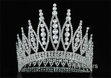 "Tall 4.6"" Pageant Beauty Contest Tiara Full Circle Round Crystal Crown T1723"