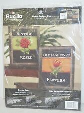 Bucilla Plaid Counted Cross Stitch Kit Flower Package Duo Rose Tulip NEW