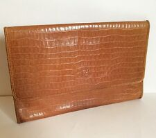 FENDI Clutch Vintage Purse Brown Croc Leather Envelope Briefcase Bag Winter Gift