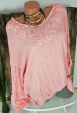 NEU ITALY VINTAGE OVERSIZE CRASH BLUSE TUNIKA STICKEREI  WASHED CORAL 42-46