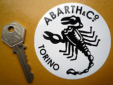 ABARTH & Co Torino Old Estilo Clásico Blanco Y Negro Scorpion 75mm Redondo