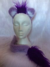 Lion Ears & Tail Lilac With Bright Purple Luxury Fur Mini Mane Fancy Dress Set