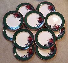 Lenox Holiday Winter Greetings GREEN Dessert Salad Bread Snack Plates Set of 12