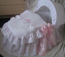 WHITE + PINK BRODERIE ANGLAISE AND SATIN MOSES BASKET COVER SET BY BABYFANZONE
