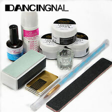 Nail Art Acrylic Powder Pen Brush File Liquid Primer Gel Buffer Forms Kits Set